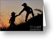 Cowboy Hats Greeting Cards - A Helping Hand Greeting Card by Carla Froshaug