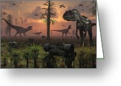 Theropod Greeting Cards - A Herd Of Allosaurus Dinosaur Cause Greeting Card by Mark Stevenson