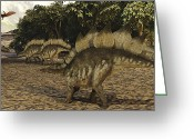 Stegosaurus Digital Art Greeting Cards - A Herd Of Stegosaurus Walk Down A Muddy Greeting Card by Corey Ford