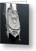 Oblique Greeting Cards - A High Oblique Bow View Of The Us Navy Greeting Card by Stocktrek Images