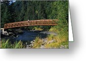 Young Men Greeting Cards - A Hiker Crosses A Bridge Greeting Card by Stacy Gold