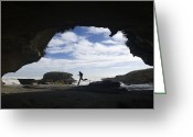 Humans Greeting Cards - A Hiker Explores Interesting Rock Greeting Card by Bill Hatcher