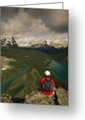 Hikers And Hiking Photo Greeting Cards - A Hiker Takes In The Panoramic View Greeting Card by Michael Melford