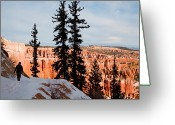 Winter Views Greeting Cards - A Hiker Walks Along A Ledge In Winter Greeting Card by Taylor S. Kennedy