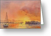 New England Seascape Greeting Cards - A Hingham Sunset Greeting Card by Laura Lee Zanghetti
