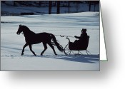 Domestic Scenes Greeting Cards - A Horse-drawn Sleigh Ride At Twilight Greeting Card by Ira Block