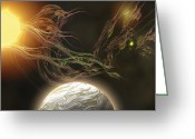 Sun Abstract Digital Art Greeting Cards - A Huge Sun Radiates Solar Flares Greeting Card by Corey Ford