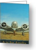 Plane Greeting Cards - A is for Amelia Greeting Card by Laurie Stewart