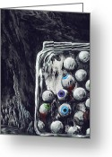 Surrealistic Painting Greeting Cards - A Jar of Eyeballs Greeting Card by David Junod