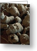 Shi Greeting Cards - A Jumbled Heap Of Terra-cotta Heads Greeting Card by O. Louis Mazzatenta