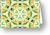 Healthy Eating Greeting Cards - A Kaleidoscope Image Of Fresh Vegetables Greeting Card by Andrew Bret Wallis