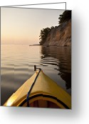 Horsehead Greeting Cards - A Kayak Points Toward A Cliff Wall Greeting Card by Hannele Lahti