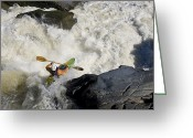 Paddles Greeting Cards - A Kayaker Paddles Off A Waterfall Greeting Card by Skip Brown