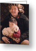 Headgear Greeting Cards - A Kazakh Eagle Hunter And His Son Greeting Card by David Edwards
