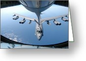 Air-to-air Greeting Cards - A Kc-135 Stratotanker Refuels A B-52 Greeting Card by Stocktrek Images