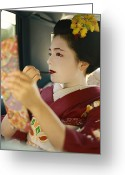 Kansai Triangle Greeting Cards - A Kimono-clad Geisha Applies Lipstick Greeting Card by Justin Guariglia