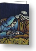 Fine Arts Pastels Greeting Cards - A King is Born Greeting Card by Kamil Swiatek
