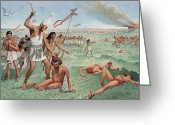 Ancient People Greeting Cards - A King Of Upper Egypt Fights In Battle Greeting Card by H.M. Herget