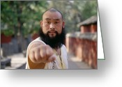 Routine Greeting Cards - A Kung Fu Monk Throws A Punch Greeting Card by Justin Guariglia