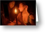 Schalcken Greeting Cards - A Lady Admiring An Earring by Candlelight Greeting Card by Godfried Schalcken