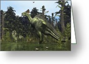 Natural History Greeting Cards - A Lambeosaurus Rears Onto Its Hind Legs Greeting Card by Walter Myers