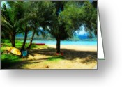 Hanalei Beach Greeting Cards - A Land Called Hanalei Greeting Card by Lynn Bauer