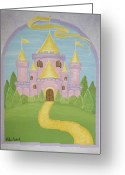 Childrens Artwork Drawings Greeting Cards - A Land Far Away Greeting Card by Valerie Chiasson-Carpenter