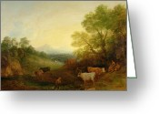 Cattle Greeting Cards - A Landscape with Cattle and Figures by a Stream and a Distant Bridge Greeting Card by Thomas Gainsborough
