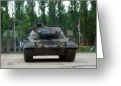Belgian Army Greeting Cards - A Leopard 1a5 Mbt Of The Belgian Army Greeting Card by Luc De Jaeger