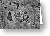 Engravings Greeting Cards - A library of petroglyphs - Atlatl Rock Greeting Card by Christine Till