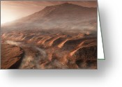 Gully Greeting Cards - A Light Fog Forms In A Desiccated Gully Greeting Card by Steven Hobbs