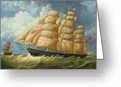 Eric Bellis Greeting Cards - A Likeness of the Clipper Ship Cutty Sark Sailing on a Reach Greeting Card by Eric Bellis