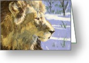Wildlife Art Ceramics Greeting Cards - A Lion in Winter Greeting Card by Dy Witt