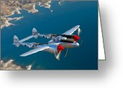 Head And Shoulders Greeting Cards - A Lockheed P-38 Lightning Fighter Greeting Card by Scott Germain