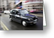 Routine Greeting Cards - A London Cab Traveling Through Traffic Greeting Card by Justin Guariglia