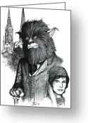 Wolfman Greeting Cards - A Lone Wolf in Coventry Greeting Card by Jamie Jonas