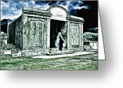 Charles River Digital Art Greeting Cards - A Lonely Phantom In A Forgotten New Orleans Cemetery Greeting Card by James Griffin