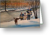 Minor Hockey Greeting Cards - A Long Day Greeting Card by Ron  Genest