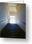 Banister Greeting Cards - A Long Way Up Greeting Card by Lori Seaman