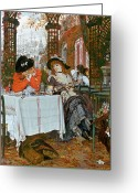 Lapdog Greeting Cards - A Luncheon Greeting Card by Tissot