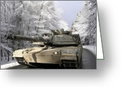 Battle Tanks Greeting Cards - A M-1a Abrams Tank Drives Greeting Card by Stocktrek Images