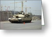 Iraq Greeting Cards - A M1 Abram Sits Out Front Of The New Greeting Card by Terry Moore