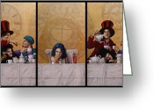 Tea Party Mixed Media Greeting Cards - A MAD TEA-PARTY from Alice in Wonderland Greeting Card by Jose Luis Munoz Luque