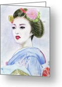Maiko Greeting Cards - A Maiko  Girl Greeting Card by Yoshiko Mishina