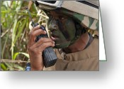 Transceiver Greeting Cards - A Malaysian Paratrooper Maintains Greeting Card by Stocktrek Images