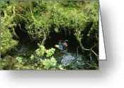Madre Greeting Cards - A Man About To Go Cave Diving, Madre De Greeting Card by Carsten Peter