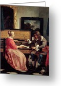 Musicians Glass Greeting Cards - A Man and a Woman Seated by a Virginal Greeting Card by Gabriel Metsu