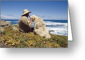 Oceans And Seas Greeting Cards - A Man And His Italian Sheep Dog Sit Greeting Card by Jason Edwards