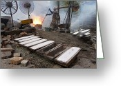 Appliances Greeting Cards - A Man Refines Aluminum Behind His House Greeting Card by Peter Essick