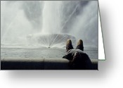 Young Men Greeting Cards - A Man Relaxes At A Fountain Greeting Card by Stacy Gold